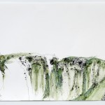 """Claudia Sbrissa. Memory: Landscape, 2010. Flocking, pen, ink, watercolor. 17"""" x 28"""". From the series Satis House. Photo courtesy the artist."""